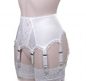 Luxury Lace Front 8 Strap Suspender Belt in Ivory or Black